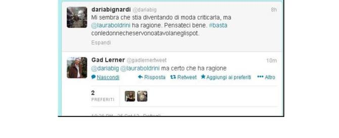 """""""No alle donne che servono il pranzo"""": soccorso rosso alla Boldrini di Gad Lerner e Daria Bignardi"""