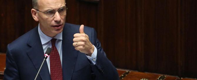 Letta presenta il semestre italiano di presidenza Ue, il Ms5 insulta il governo: «Siete dei Giuda»