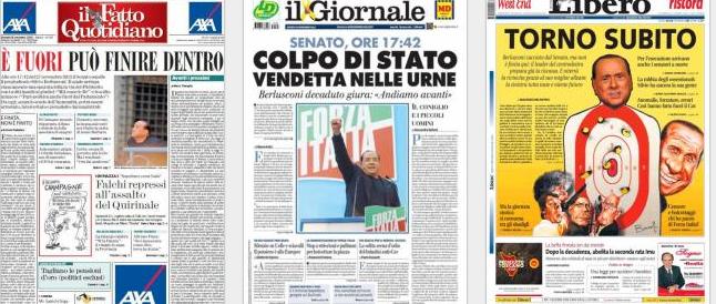La decadenza di Berlusconi scatena i titolisti: Travaglio lo vede in carcere, da destra si annuncia la resurrezione
