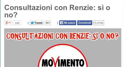"""Consultazioni, Renzi incassa il no della Lega e il """"ni"""" dei Gal. Il M5S si consulta in rete"""