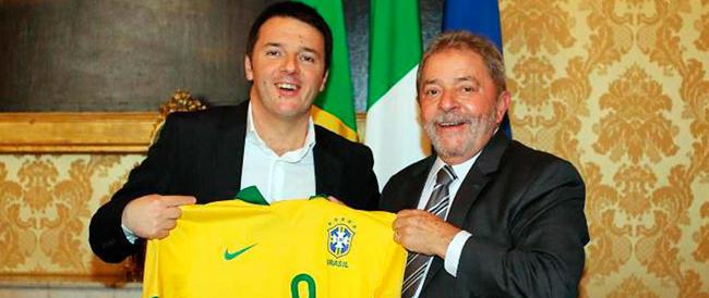 """Renzi si toglie la maschera: vuole essere il """"compagno"""" Lula, l'amico brasiliano di Fidel"""