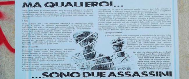 A Lecce (a due passi da un nuovo centro sociale) spuntano manifesti infami contro i marò
