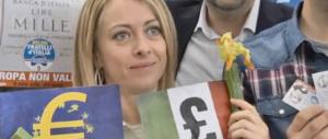 Il video di Fratelli d'Italia al mercato con il docente di sinistra anti-euro