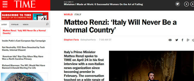 """Nell'intervista al """"Time"""" Renzi scopiazza Blair. Ma è nato in Italy…"""