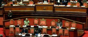 Senato, vuoti i banchi del governo. Sono tutti con Renzi a vedere la partita…
