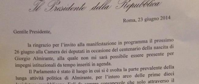 Il messaggio di Napolitano su Almirante: si impegnò per la legittimazione democratica del Msi