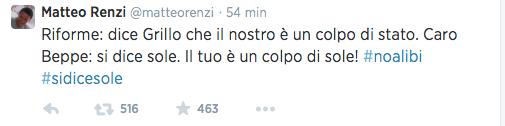 Grillo-Renzi, rissa on-line: «Napolitano regista di un colpo di Stato». La replica: «Il tuo è un colpo di sole»