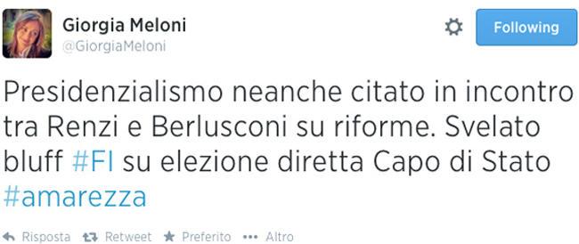 Il Cav non porta il presidenzialismo al tavolo delle riforme. Meloni su Twitter: «Svelato il bluff di FI. #amarezza»