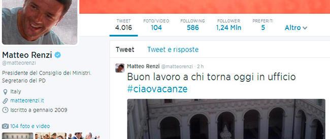 Renzi si fa beffa degli italiani: «Buon lavoro a chi torna oggi in ufficio»