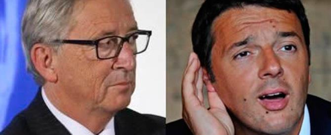 Juncker, sberle a Renzi. Il cdx: «Se l'è meritate, usa l'Ue per i suoi problemi»