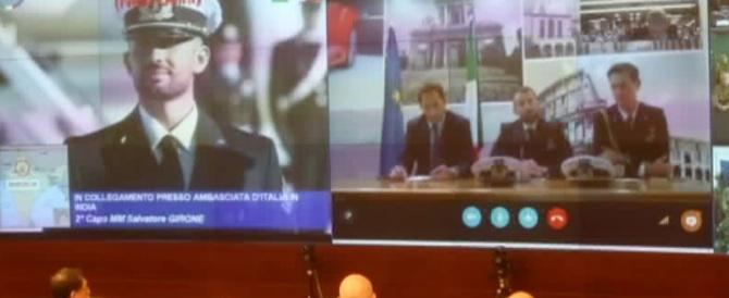 Salvatore Girone in collegamento video con il presidente Napolitano