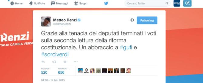 """Renzi """"sfotte"""" gufi e sorci verdi. Brunetta: «Ride bene chi ride ultimo»"""