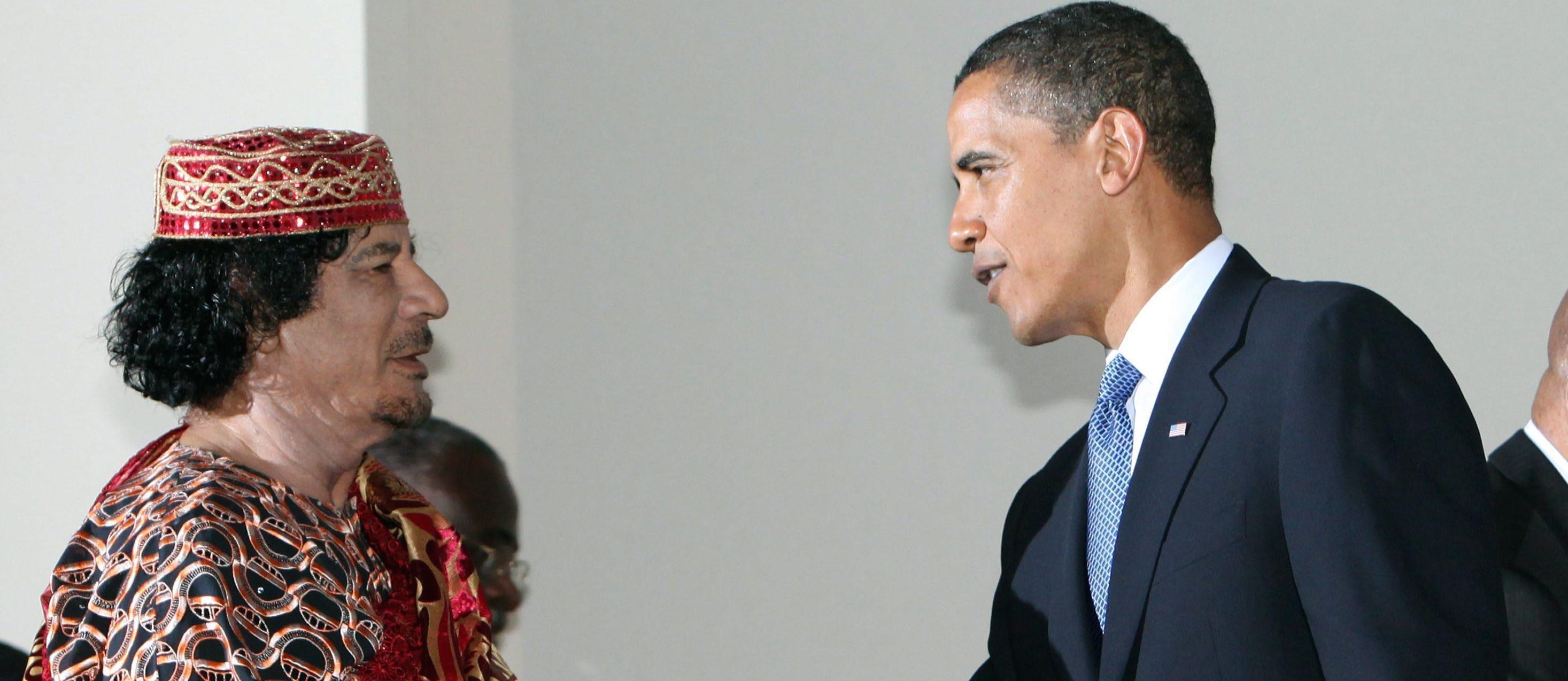 Muammar Gheddafi insieme con Barack Obama