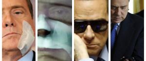 Stampelle, cerotti, tutori, occhiali: tutti i malanni di Berlusconi (GALLERY)
