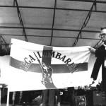 Com'erano: la vecchia bandiera della Lega Lombarda con Alberto da Giussano (fonte Facebook)