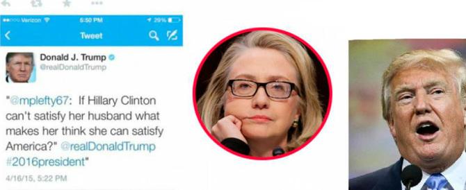 Con un Tweet al veleno Donald Trump affonda Hillary Clinton. E poi si scusa