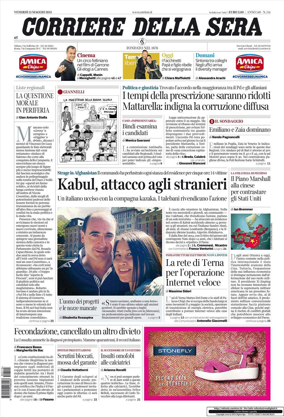 Le prime pagine dei quotidiani in edicola oggi 18 maggio for Corriere della sera arredamento