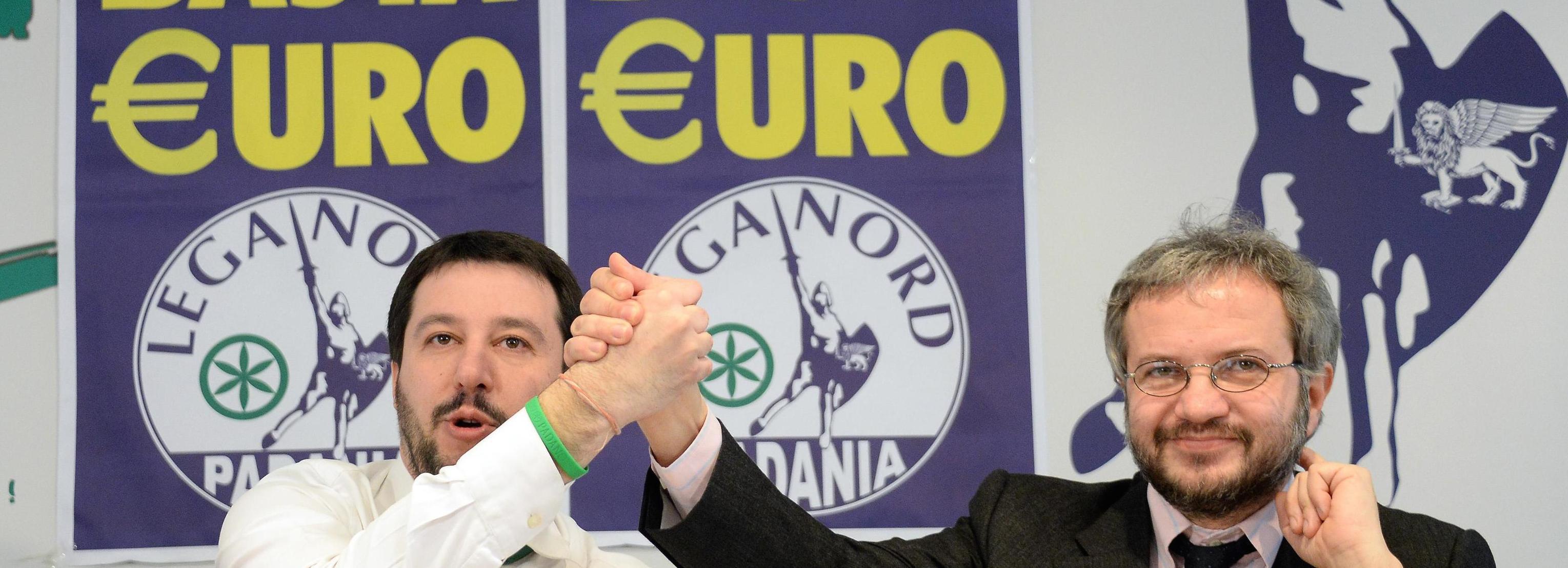 L'economista Claudio Borghi con Matteo Salvini