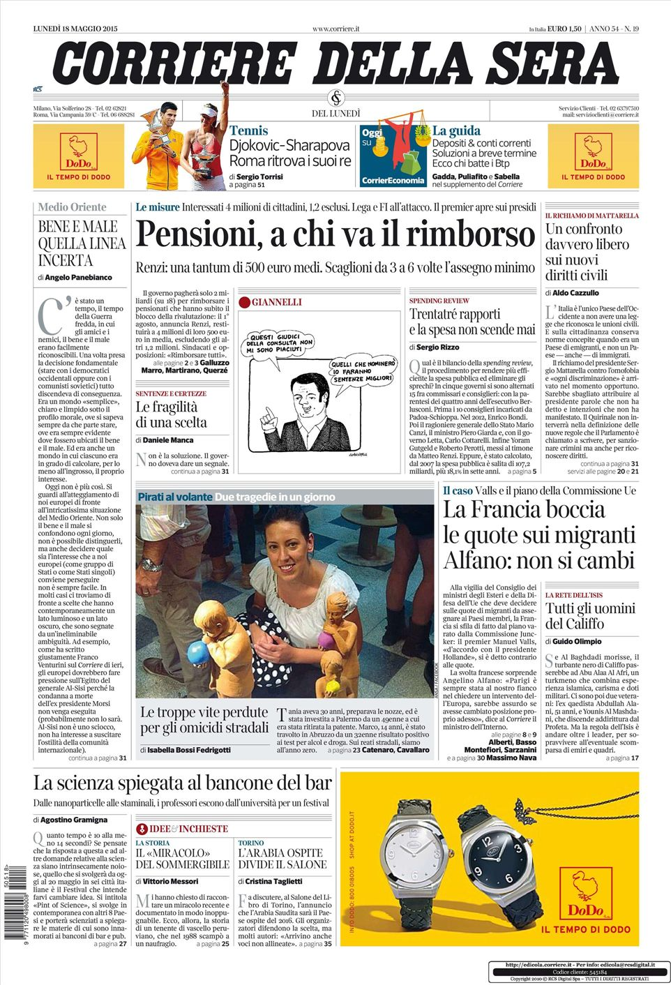 Le prime pagine dei quotidiani in edicola oggi 18 maggio for Casa corriere della sera