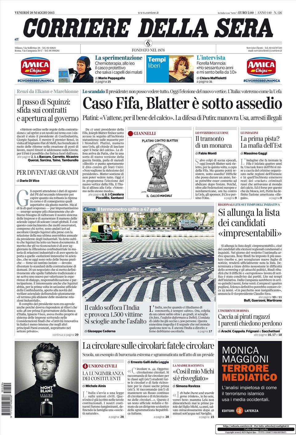 Le prime pagine dei quotidiani che sono in edicola oggi 29 for Corriere della sera arredamento