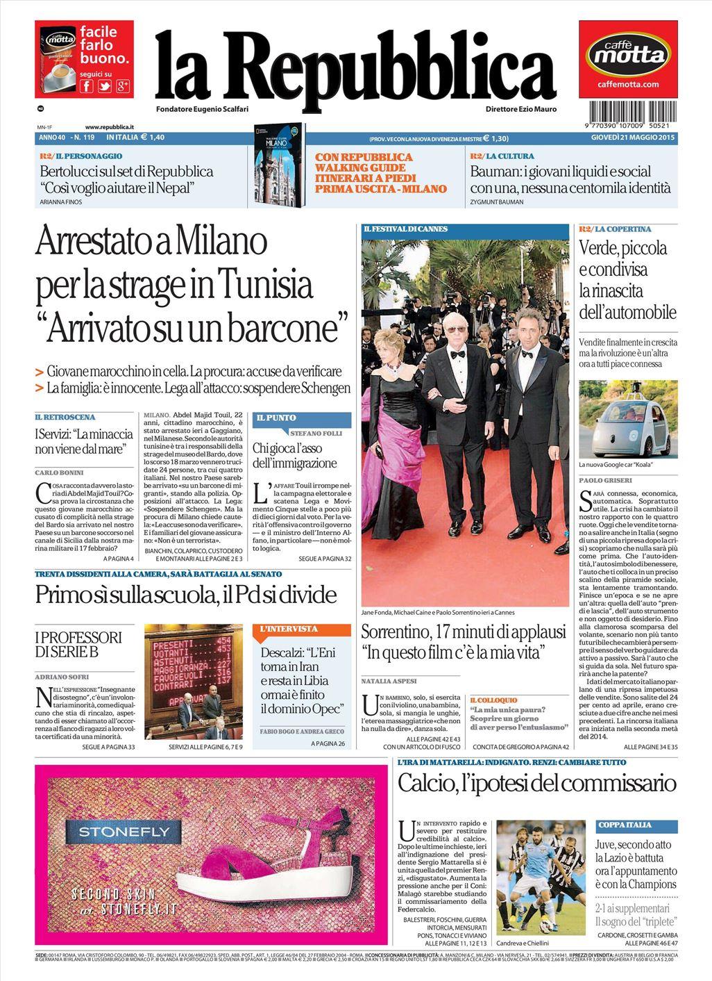 La Repubblica It Nel 2019: Le Prime Pagine Dei Quotidiani In Edicola Oggi 21 Maggio