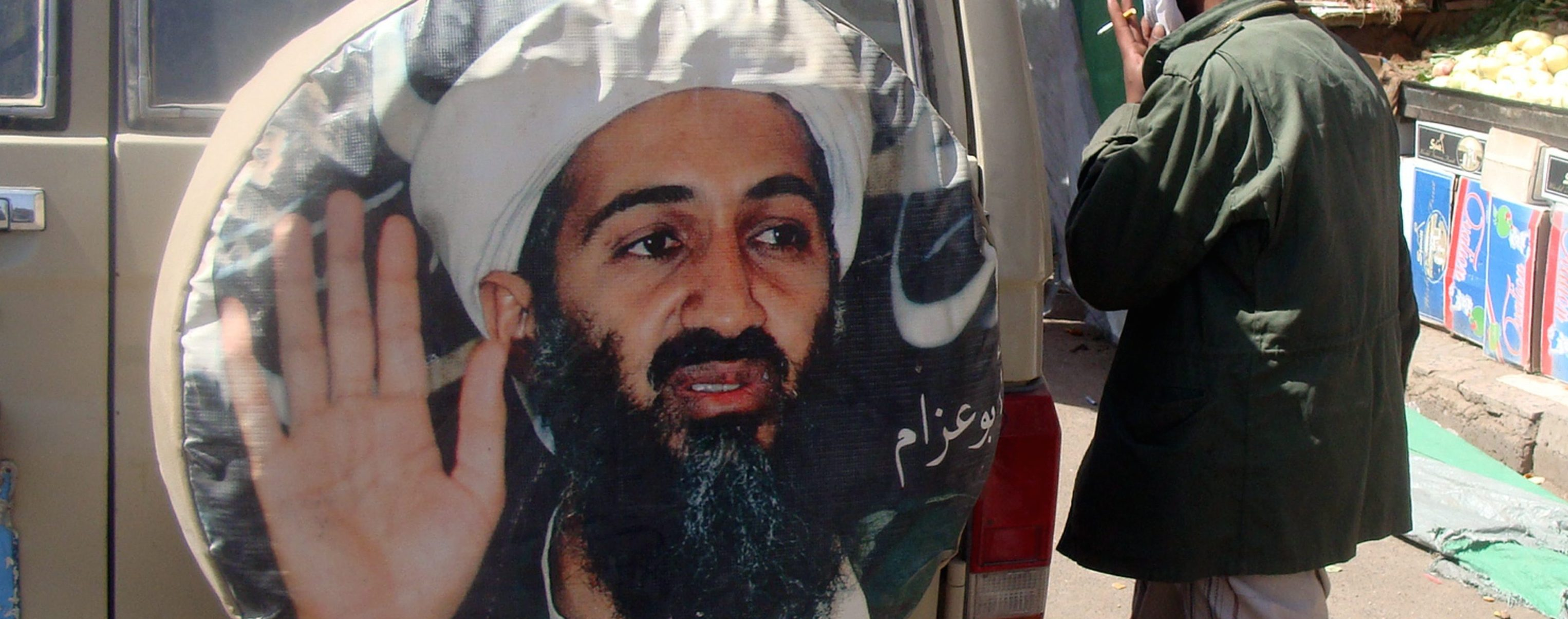 Osama bin Laden riprodotto su un pullman