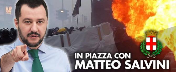Salvini chiama i milanesi in piazza. Renzi: teppisti contro l'Expo