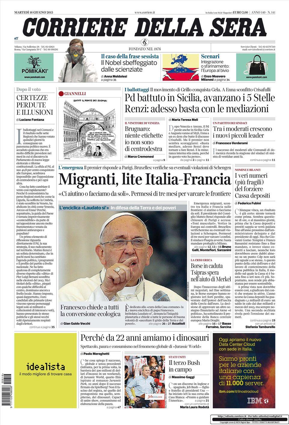 Le prime pagine dei quotidiani che sono in edicola oggi 16 for Corriere della sera arredamento
