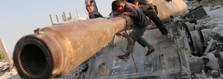 Un carro armato distrutto a Kobane