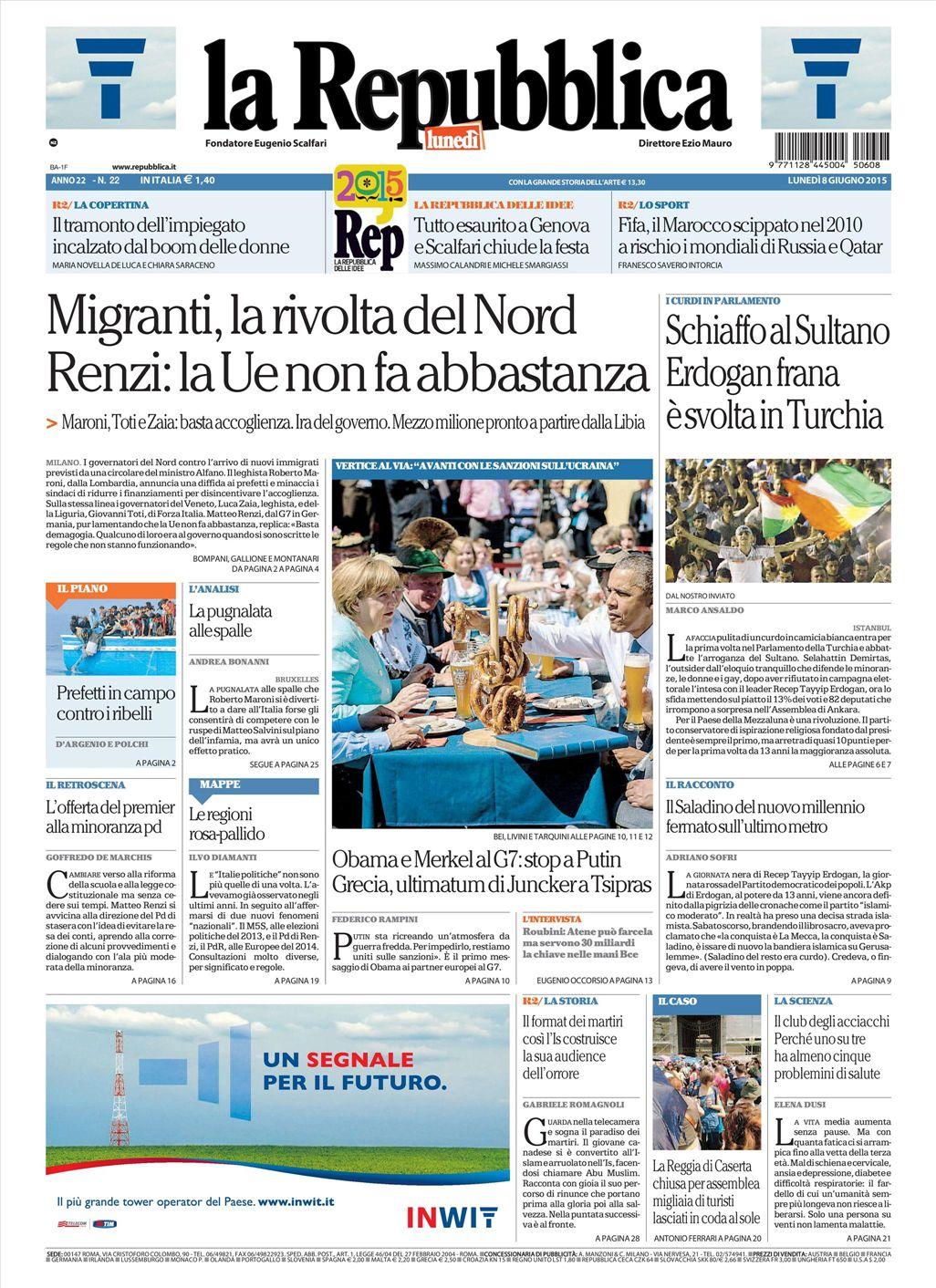 La Repubblica It Nel 2019: Le Prime Pagine Dei Quotidiani Che Sono In Edicola Oggi 8