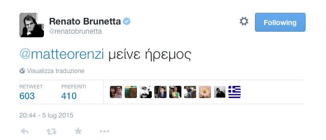"""Twitter, vincono Brunetta con """"stai sereno Matteo"""" (in greco) e Civati con #Rentsi"""