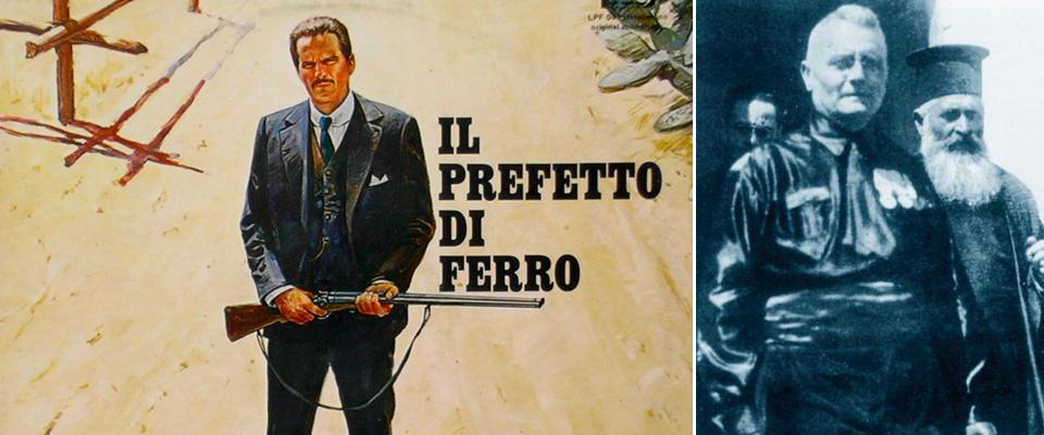 Cesare Mori e la locandina del film su di lui di Squitieri