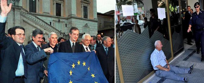 L'euro-flop in due immagini: dal sorriso di Prodi al pianto del pensionato greco