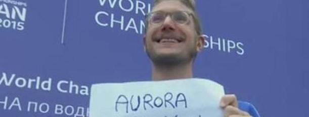 """Mondiali di nuoto, Ruffini dal podio: """"Aurora, mi vuoi sposare?"""""""