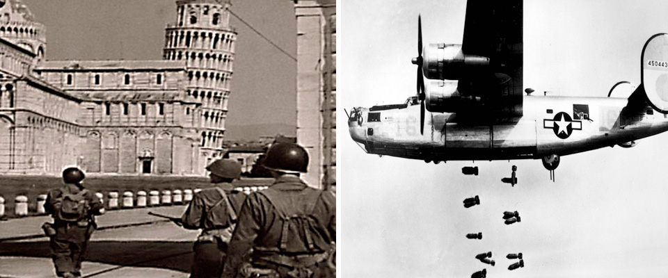Americani a Pisa; a destra, un Liberator Usa