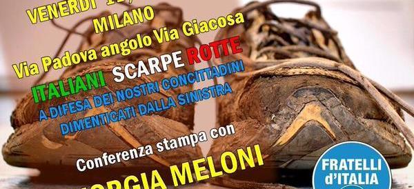"""FdI protesta a Milano """"con le scarpe rotte"""". E gli antifà cantano Bella ciao"""