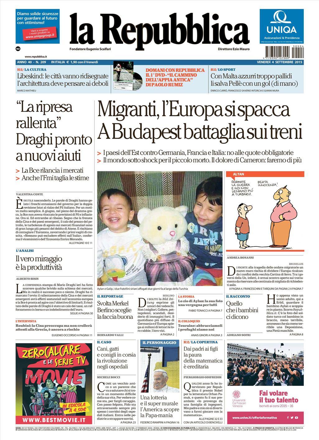 La Repubblica It Nel 2019: Le Prime Pagine Dei Quotidiani Che Sono In Edicola Oggi 4