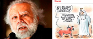 """""""Renzi come Dio"""": sull'Unità il vignettista Staino fa infuriare i cattolici"""