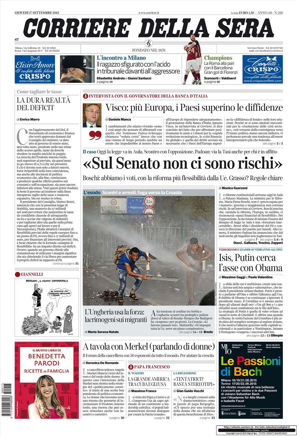 Le prime pagine dei quotidiani che sono in edicola oggi 17 for Corriere della sera arredamento