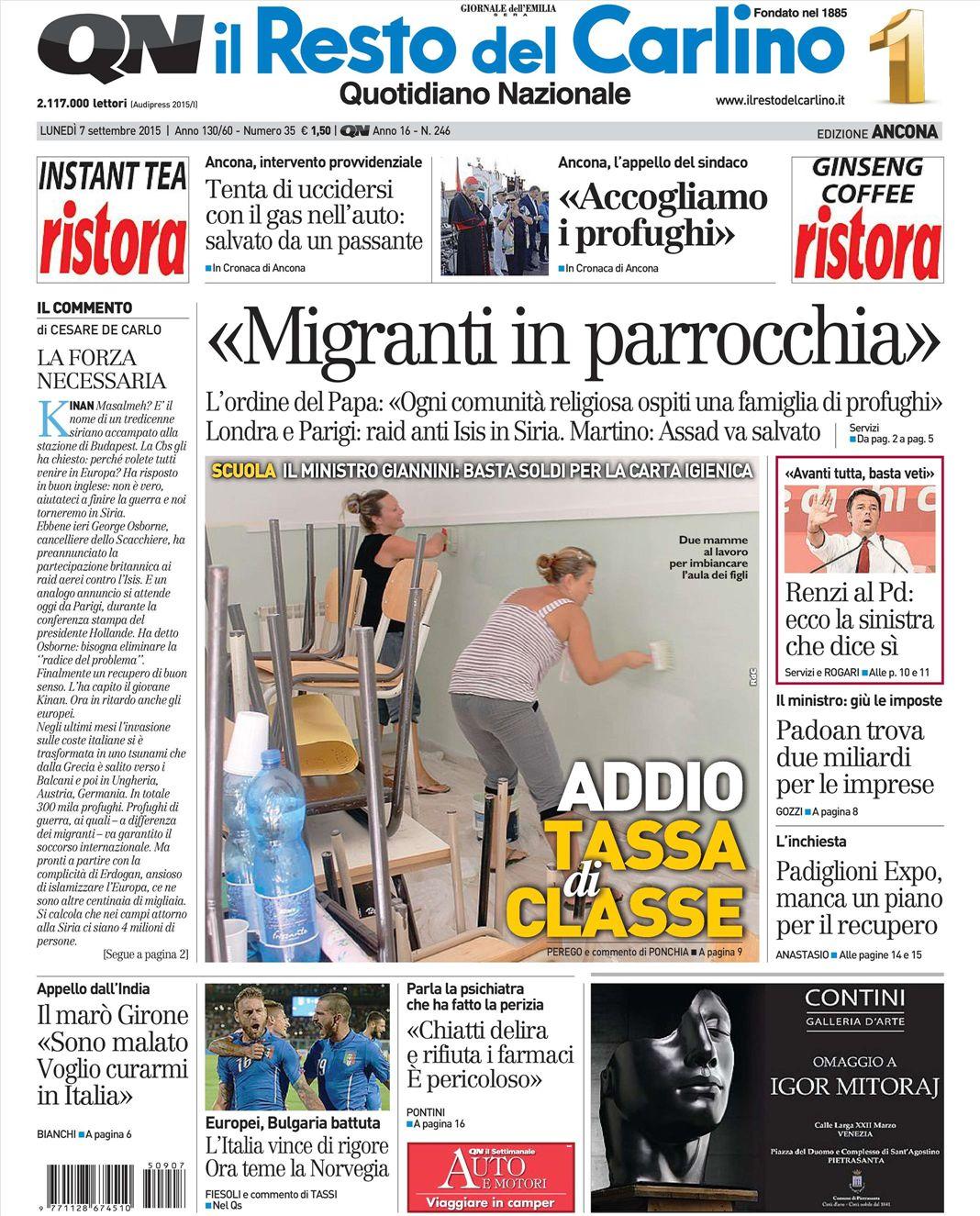 le prime pagine dei quotidiani che sono in edicola oggi 7