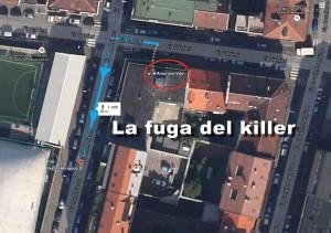 La fuga del killer di Vito Amoruso a Torino: ha sparato al rappresentante di commercio di fronte al civico di via Valdieri 21, dove viveva la vittima, ed è poi è salito sull'auto, una Fiat 500 scura fuggendo lungo via Lombriasco