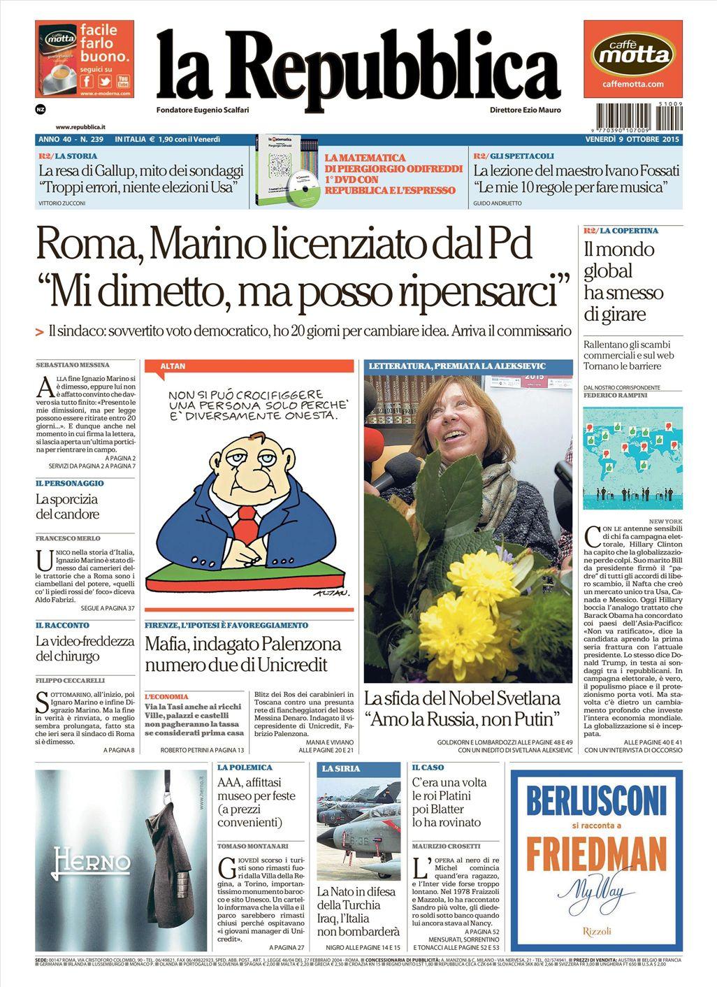 La Repubblica It Nel 2019: Le Prime Pagine Dei Quotidiani Che Sono In Edicola Oggi 9