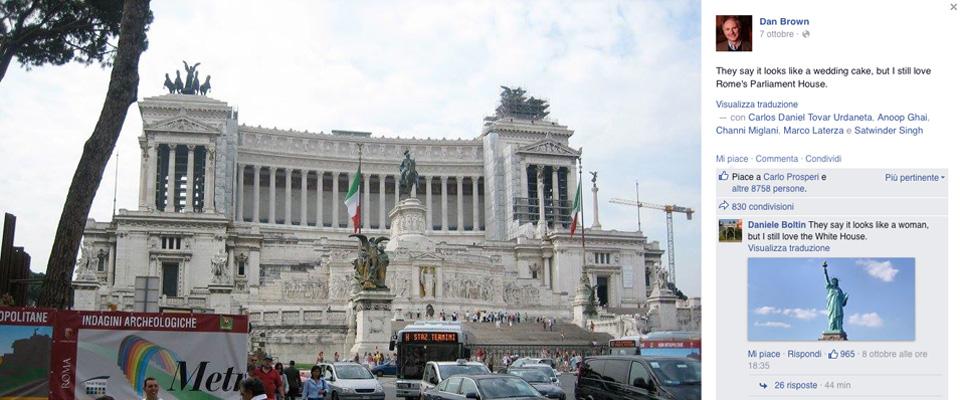 La gaffe di dan brown scambia l 39 altare della patria per for Sede parlamento roma