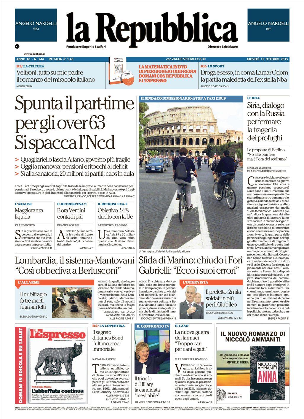 La Repubblica It Nel 2019: Le Prime Pagine Dei Quotidiani Che Sono In Edicola Oggi 15
