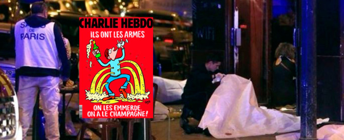 """Charlie Hebdo provoca (e scivola ancora) : """"Loro le armi, noi lo champagne"""""""