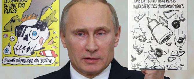 Squallide vignette di Charlie Hebdo sull'aereo russo caduto: l'ira di Putin