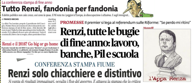 Sui giornali scatta l'operazione verità: ecco tutte le bugie di Pinocchio Renzi