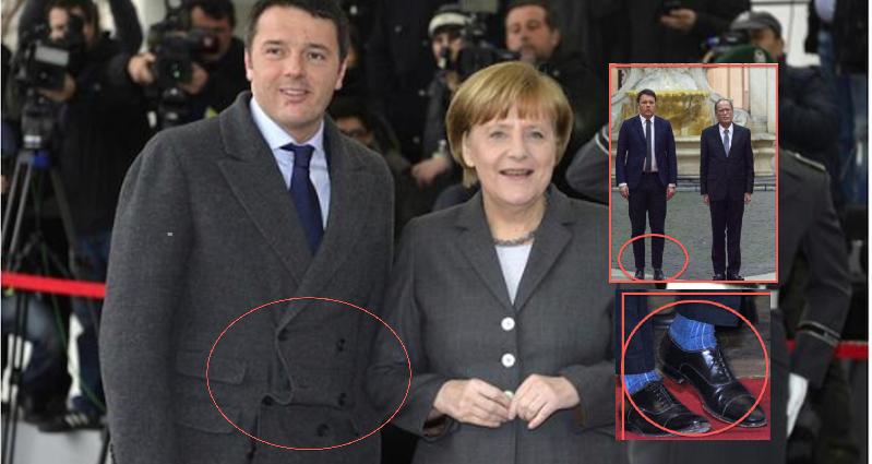 Renzi in versione super-cafone: dopo il cappotto sbilenco, il calzino a vista