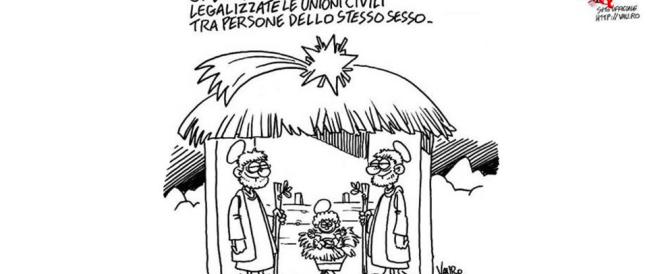 Vauro da voltastomaco: è polemica sulla vignetta col presepe gay