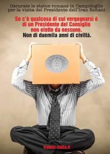Un manifesto di protesta di Fratelli d'Italia